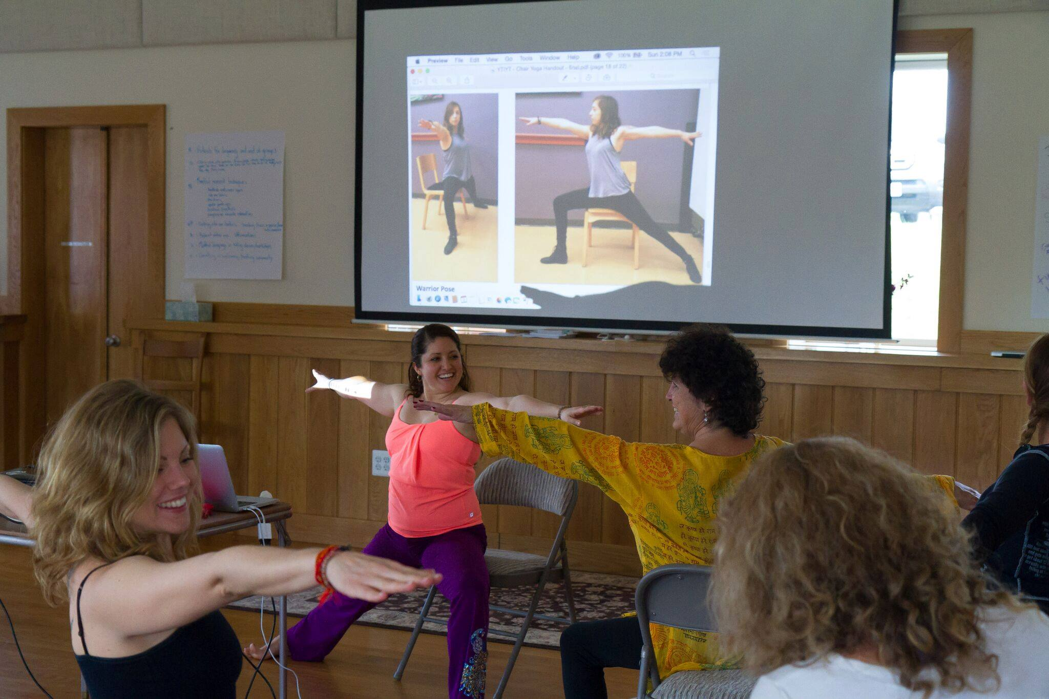 Kristen Townsend teaches details of chair yoga. Great practice for groups or individual clients.