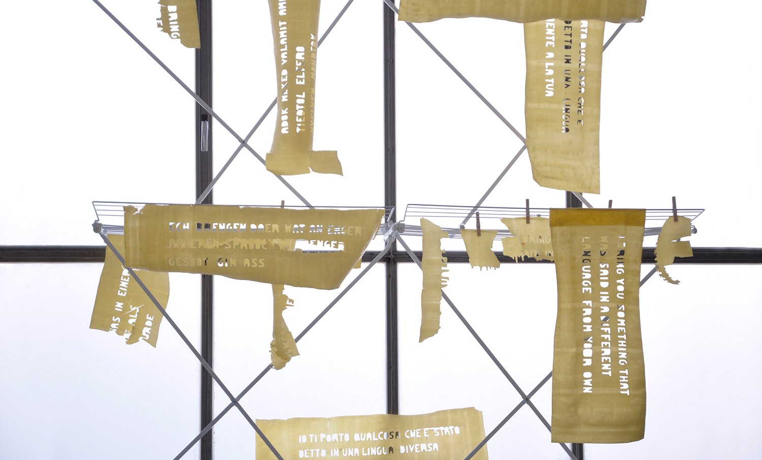 P asta dough banners in the room installation for the exhibition in Pforzheim