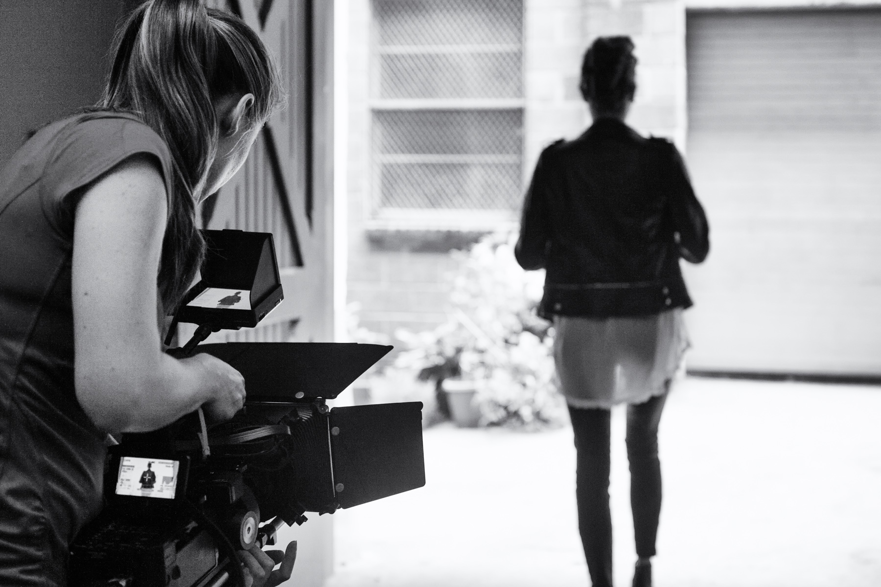 "Tracy filming Jill for her ""journey as a survivor"" scenes."