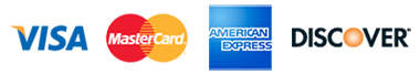 We accept major credit cards including Visa, Mastercard, American Express, and Discover.