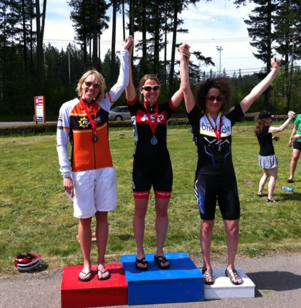 Alicia King, HBSC Women's leader on the podium at Ravensdale Road Race