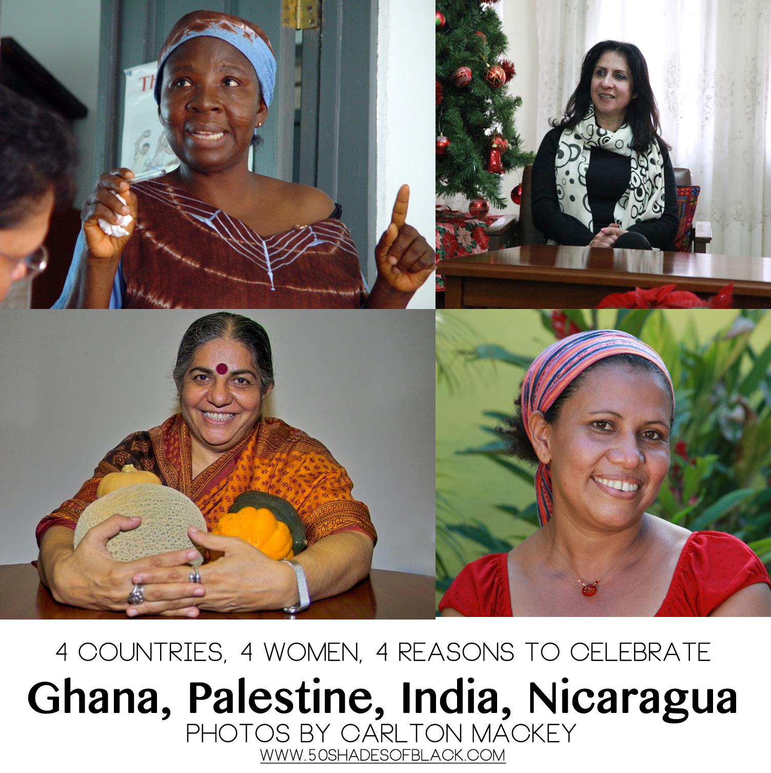 Mercy Oduyoye - Ghana, Vera Baboun - Palestine, Vandana Shiva - India, Lisette Guedo - Nicaragua.  Photos by Carlton Mackey