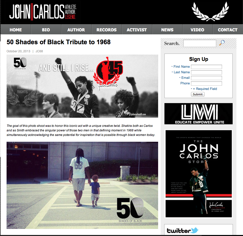 Read Entire 50 Shades of Black feature at http://www.johncarlos68.com/2013/10/50-shades-of-black-tribute-to-1968/