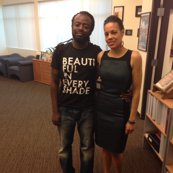 Kwame Phillips rocking 50 Shades of Black Signature BEAUTIFUL IN EVERY SHADE Shirt and Dr. Shana Redmond in California for the release of The ANTHEM Mixtape