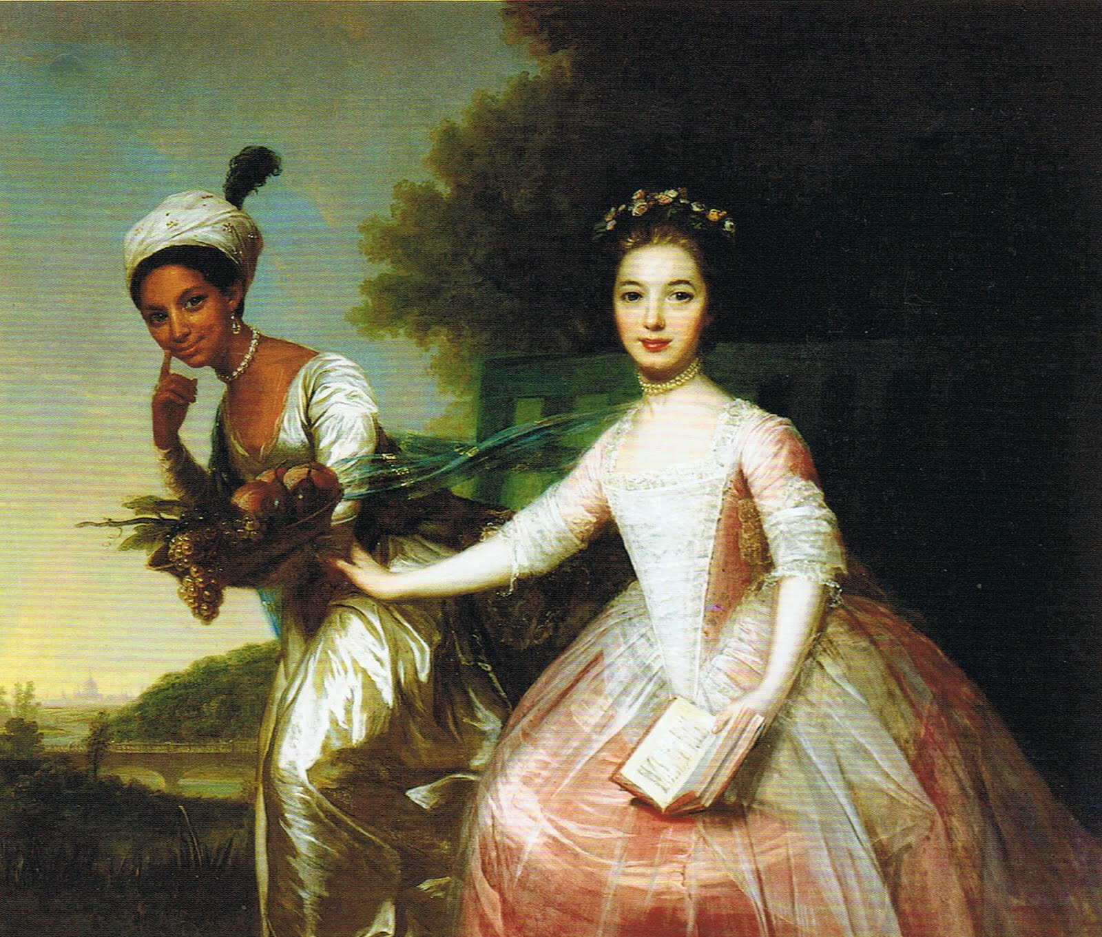 Painting attributed to Hohann Zoffany of Dido Belle with her cousin Elizabeth
