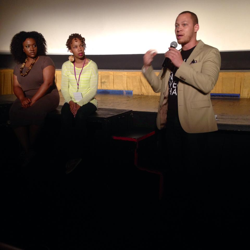 "Ross Oscar Knight post film discussion of ""In our Heads About our Hair"" with brand manager of African Pride Hair Care Camila Crews and ""Loc Livin"" founder Eleasha Sledge."