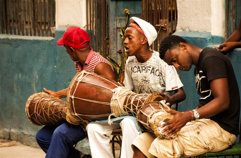 Havana youths drumming for a dance in the streets of Old Havana.  Photo by: LaFevor