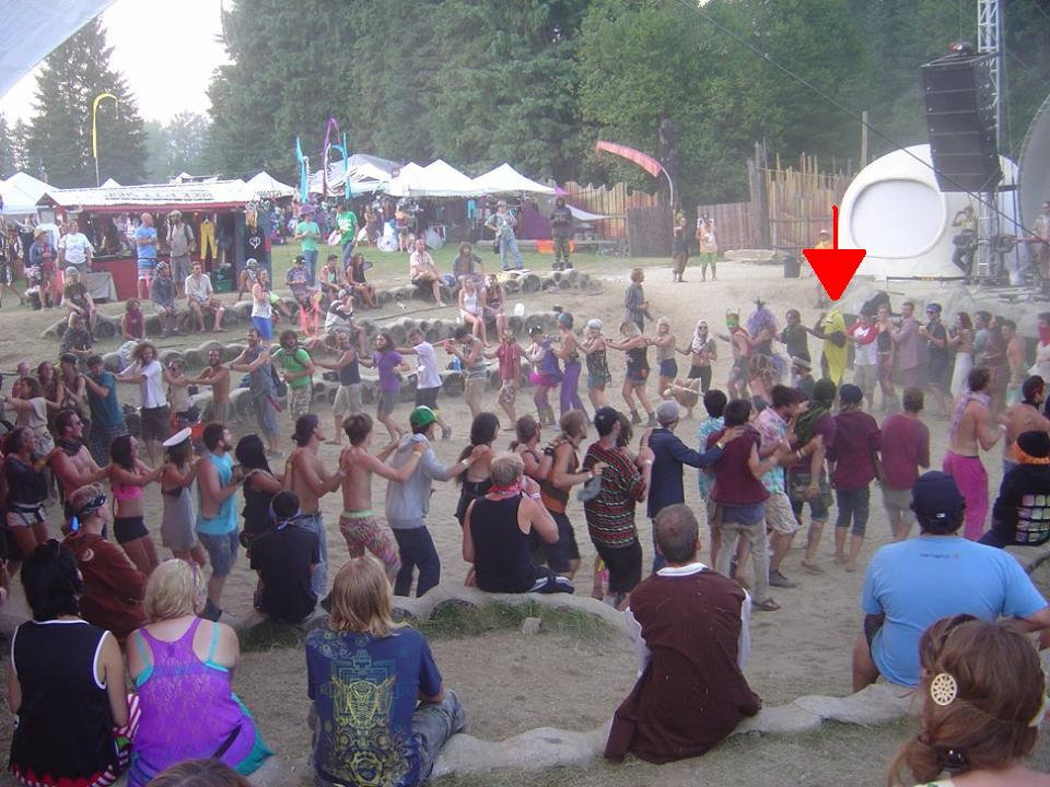 In his patented banana suit, congaing it up during Rocky Mountain Rebel Music at Shambhala.