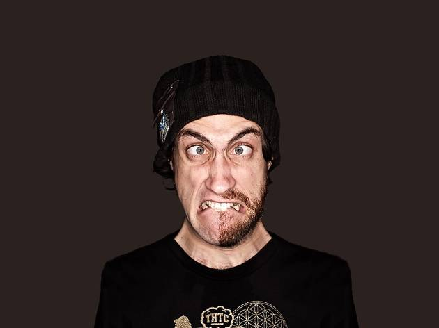 Beardyman doing an impression of audiences' faces after they witness a Beardyman set.