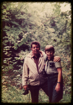 My father and I, Roe Valley Forest Park in the mid-70s. The little pot belly, the steel-framed specs and the binoculars: Just a MAGNET for bullies.