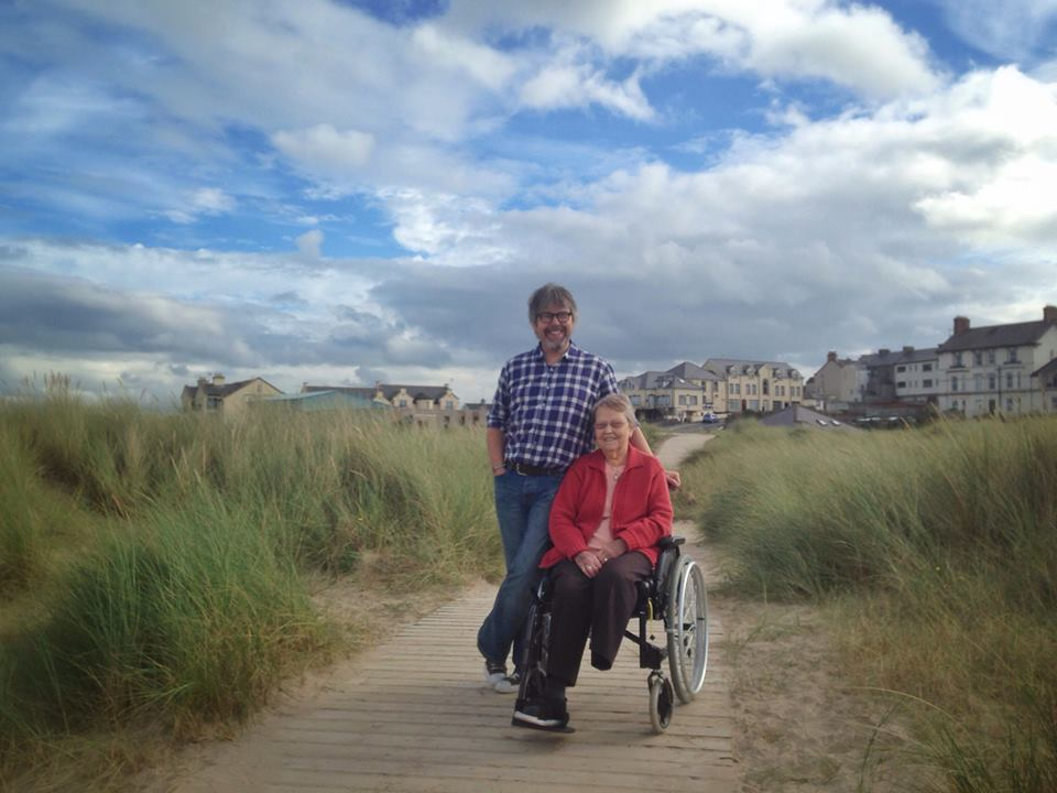 My mother and I, on the boardwalk at Castlerock, spring 2014