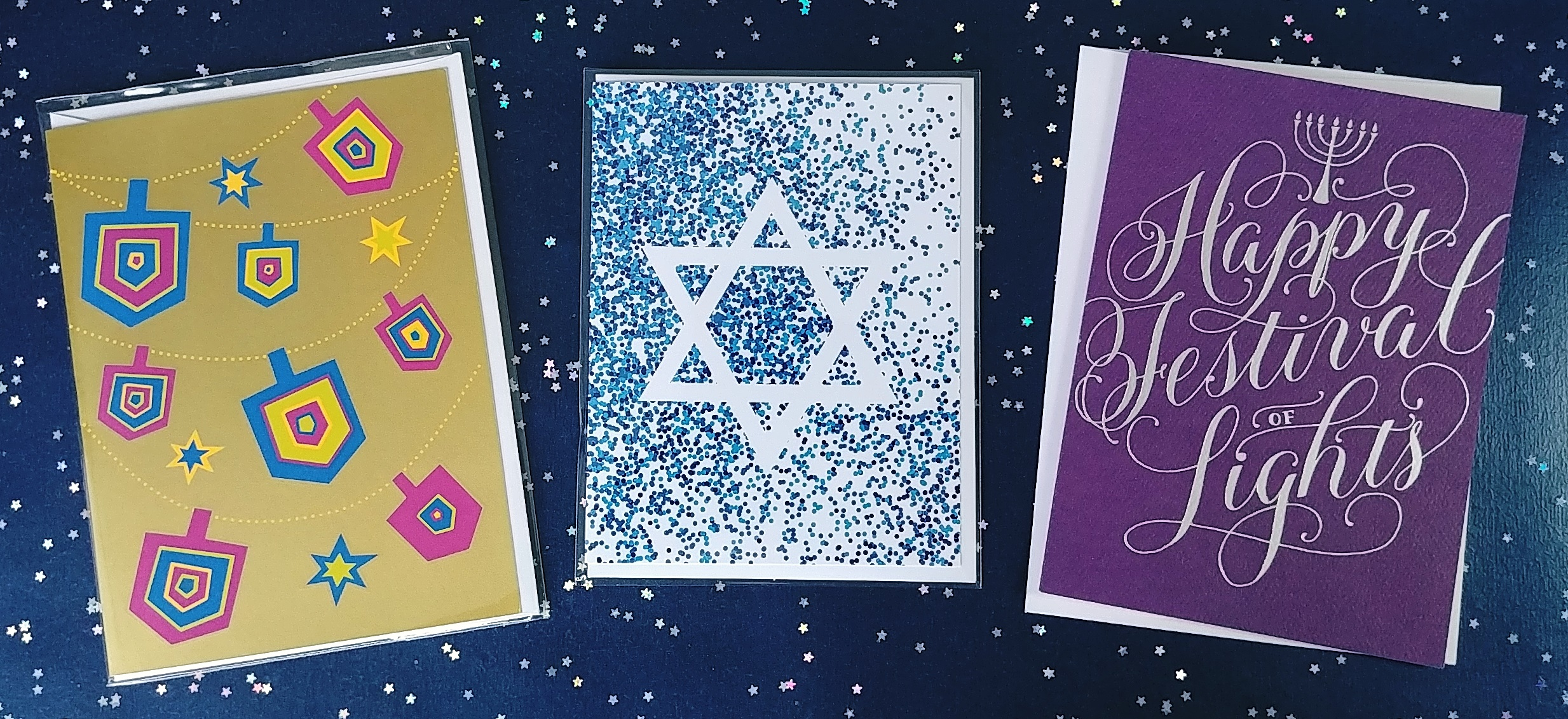 Get ready for Hanukkah with candles, serviettes, wrapping paper, decor items… along with gorgeous cards of course! Hanukkah begins this year on Monday December 3rd. Wishing you light and laughter at your Hanukkah gatherings!  November 21, 2018