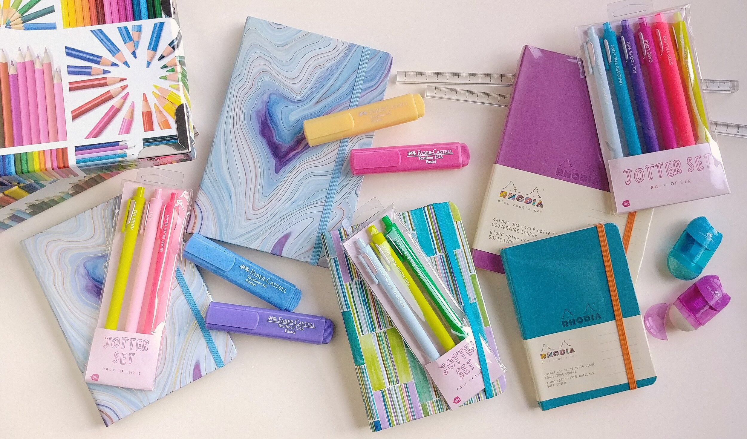 Live long and write often…and with these colourful prompts it will be easy! Jounals from Peter Pauper and Rhodia, pen sets from Paper E. Clips, and Faber Castell highlighters bring the rainbow indoors.   September 16, 2019