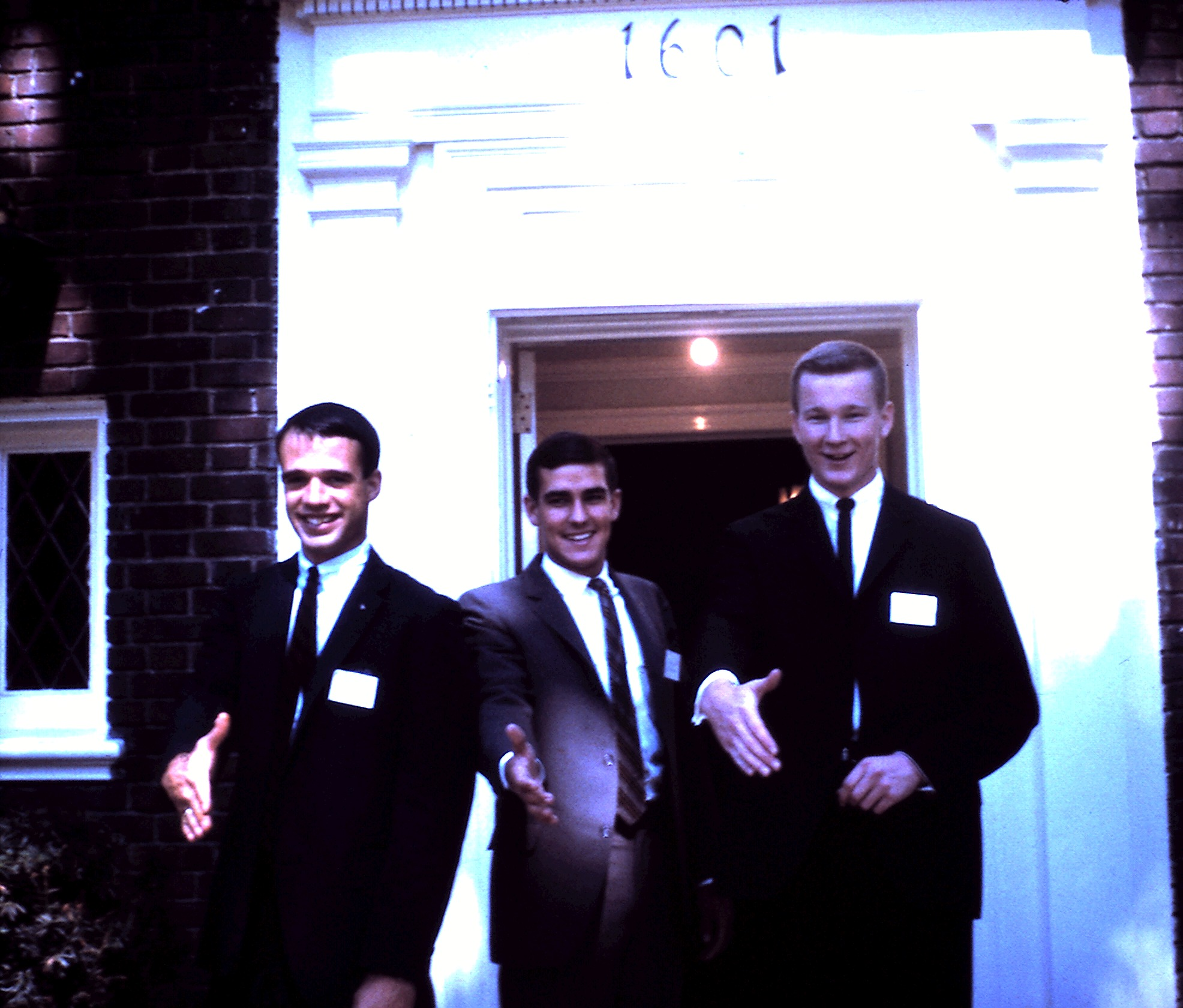 Brothers John Moorhead '63, David Sheldon '64, and Dennis Phelps '64 during Rush, 1963