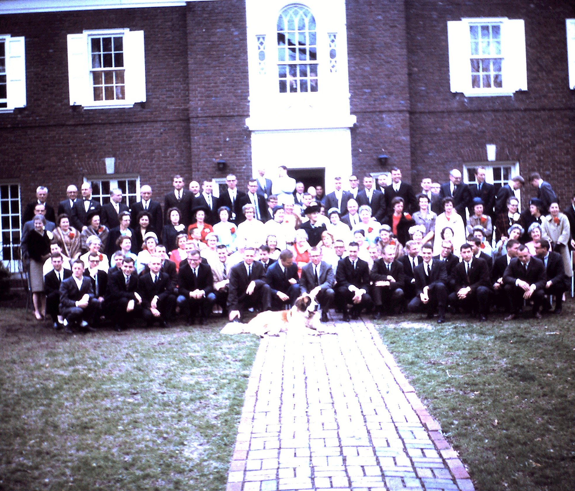 In front of the chapter house on Mother's Day, 1964