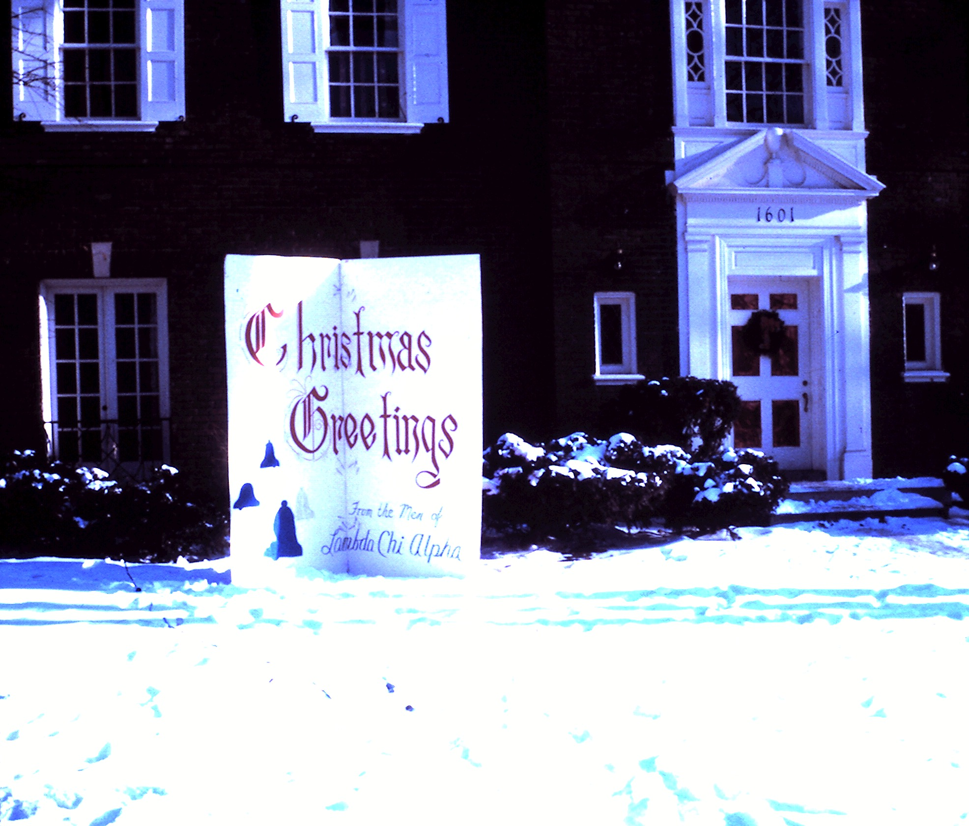 The chapter house decorated for Christmas, 1963