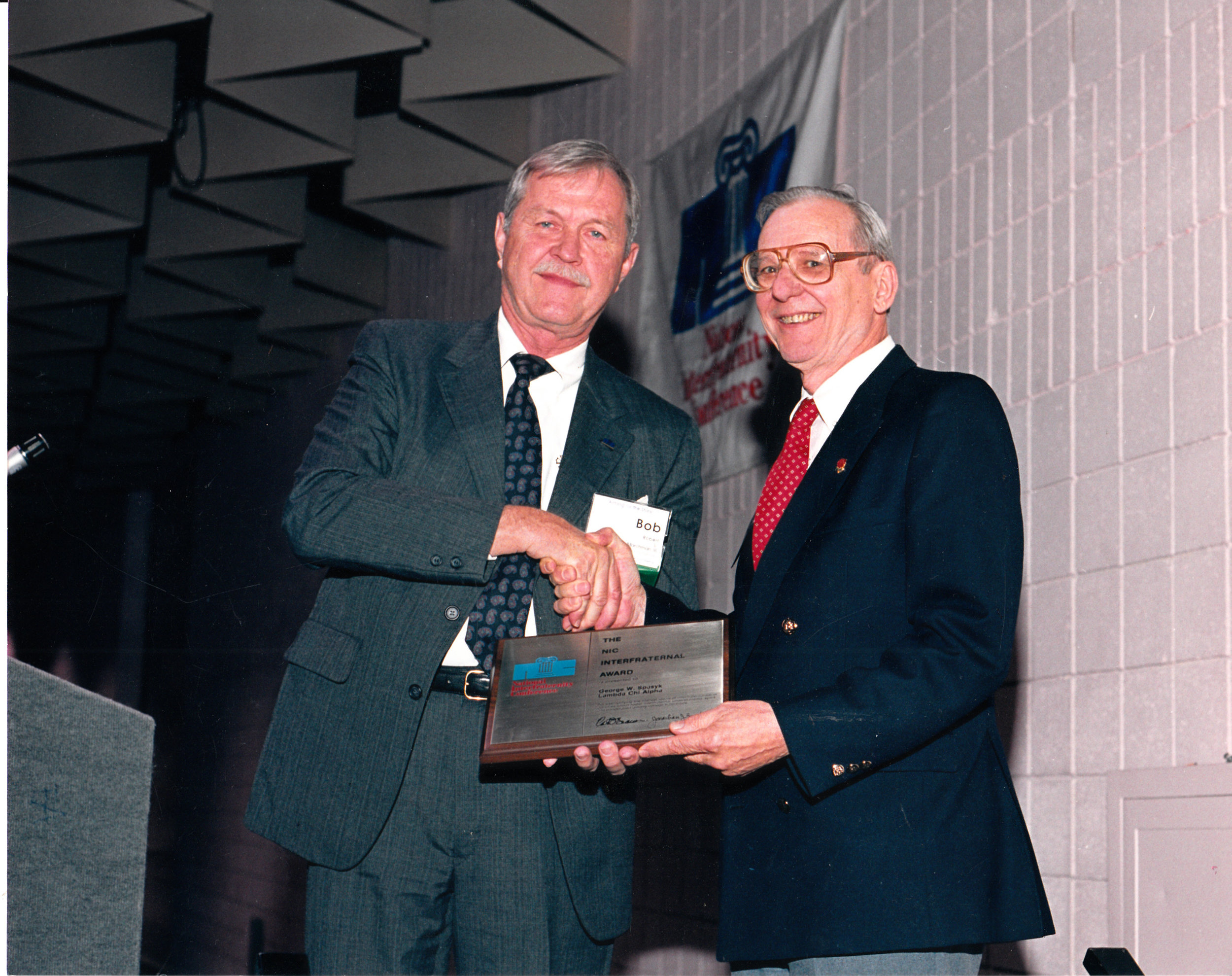 Receiving the NIC Interfraternal Award, 1989