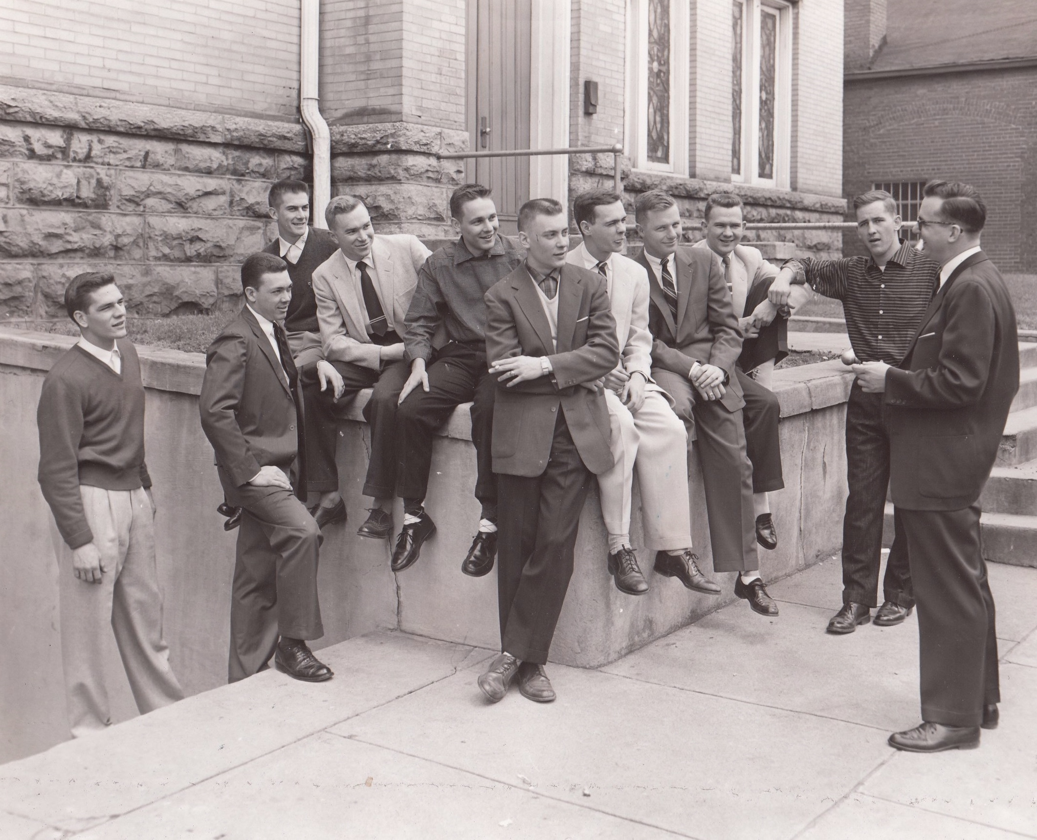 With the East Tennessee State University chartering Ritual team, 1956