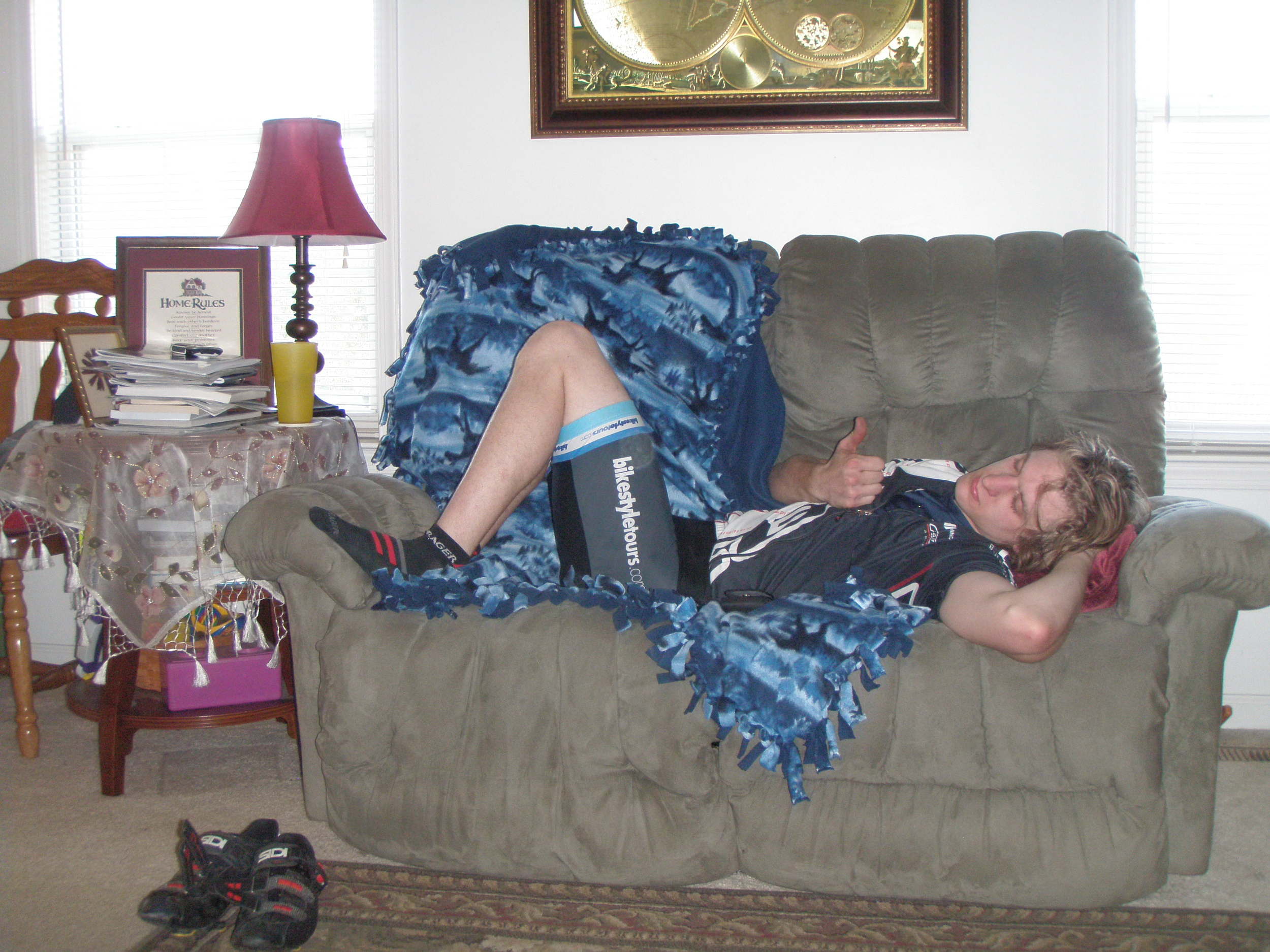 Post ride chillen, I was not going to leave this couch for a little while.
