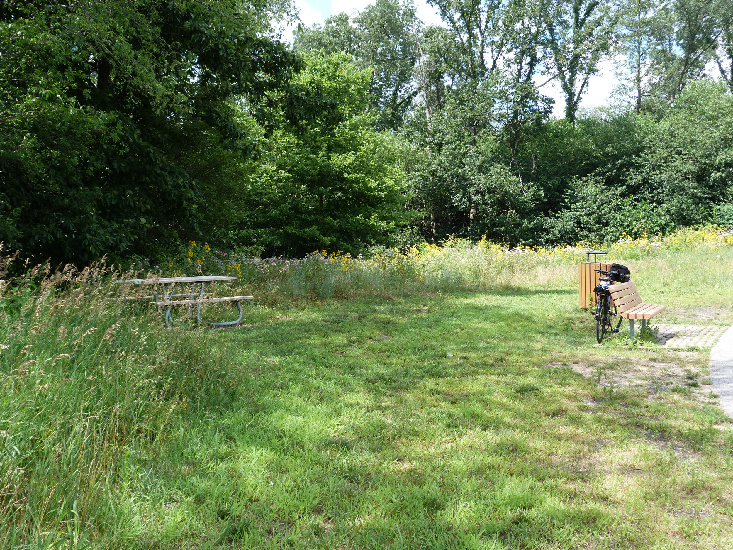 Wayside benches and picnic tables.