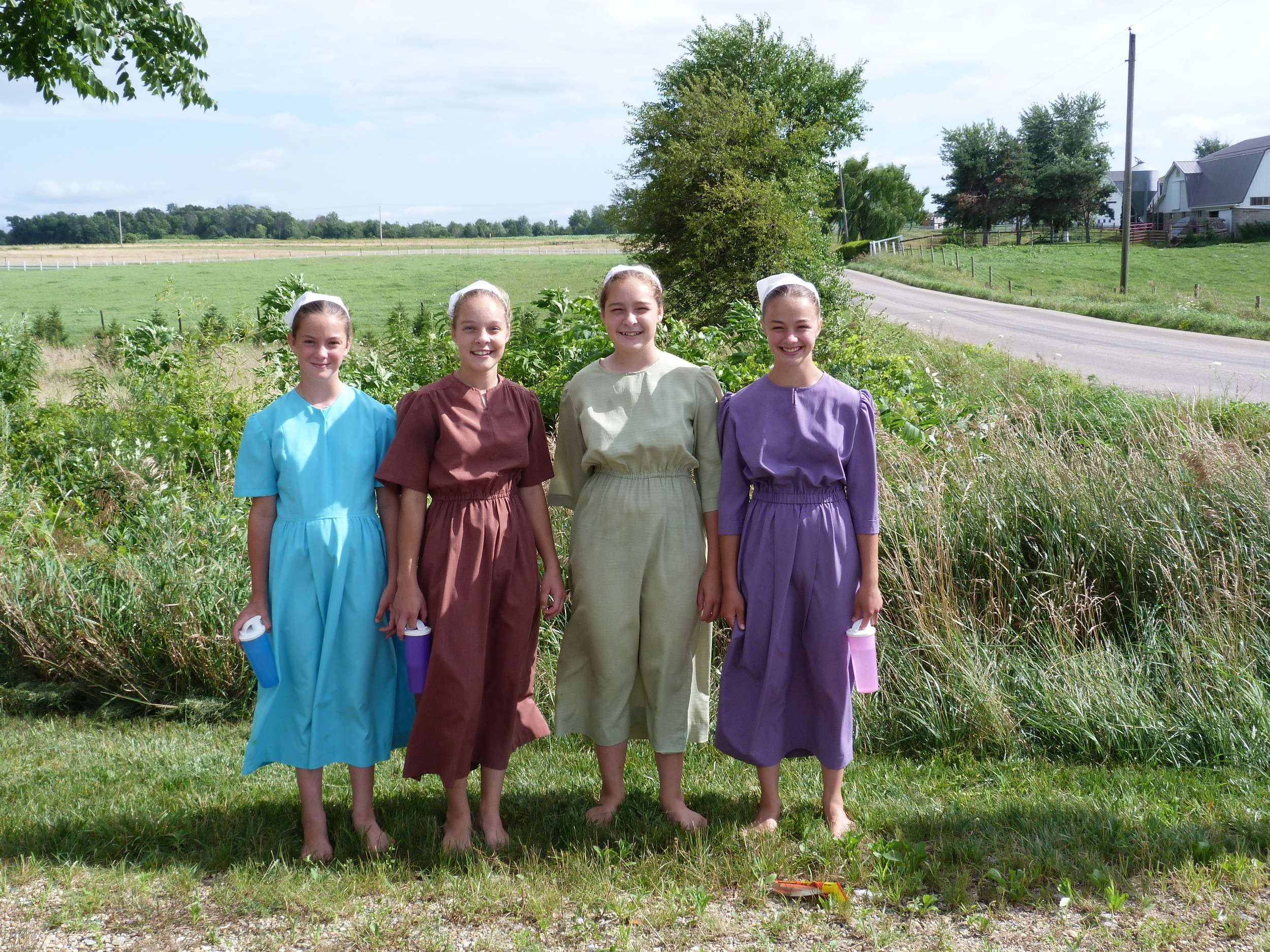 Amish girls passing by.