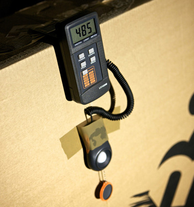 Light output is calculated using a lux calibrated industrial light meter