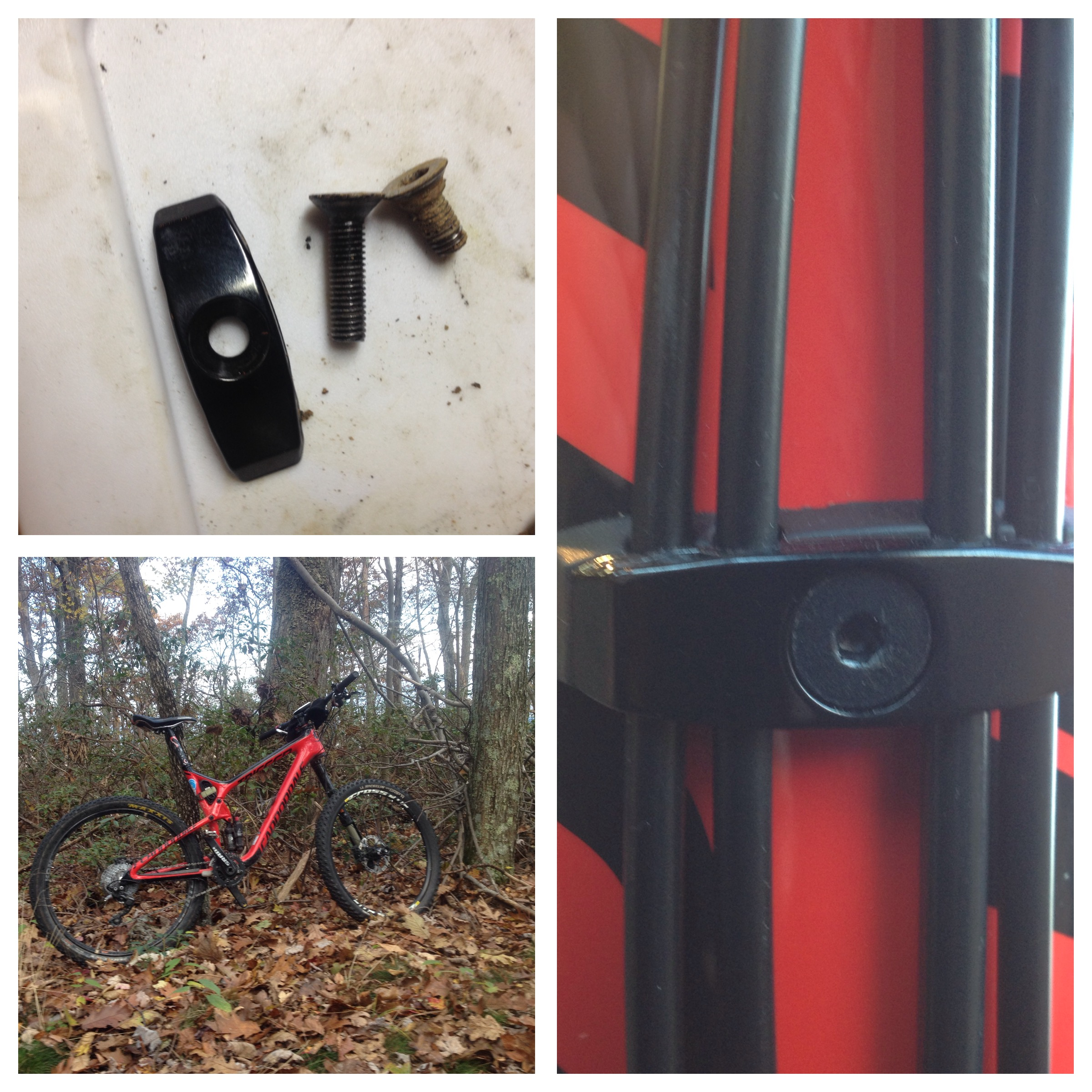 Top left; the cable fixing plate along with the long bolt and a cleat bolt for reference. Right; the bolt and plate on the bottom of the down tube bottom left; my 2015 cannondale trigger-arri.