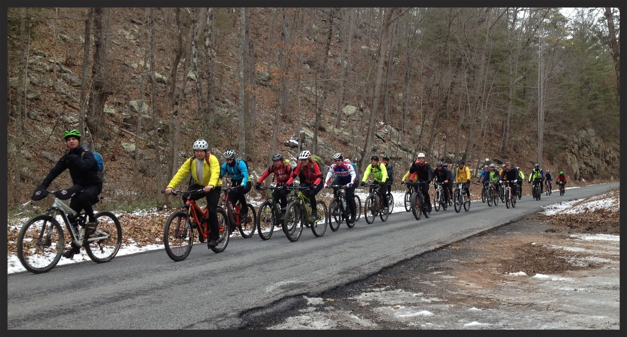 The main group rolls up 257 at the base of the climb