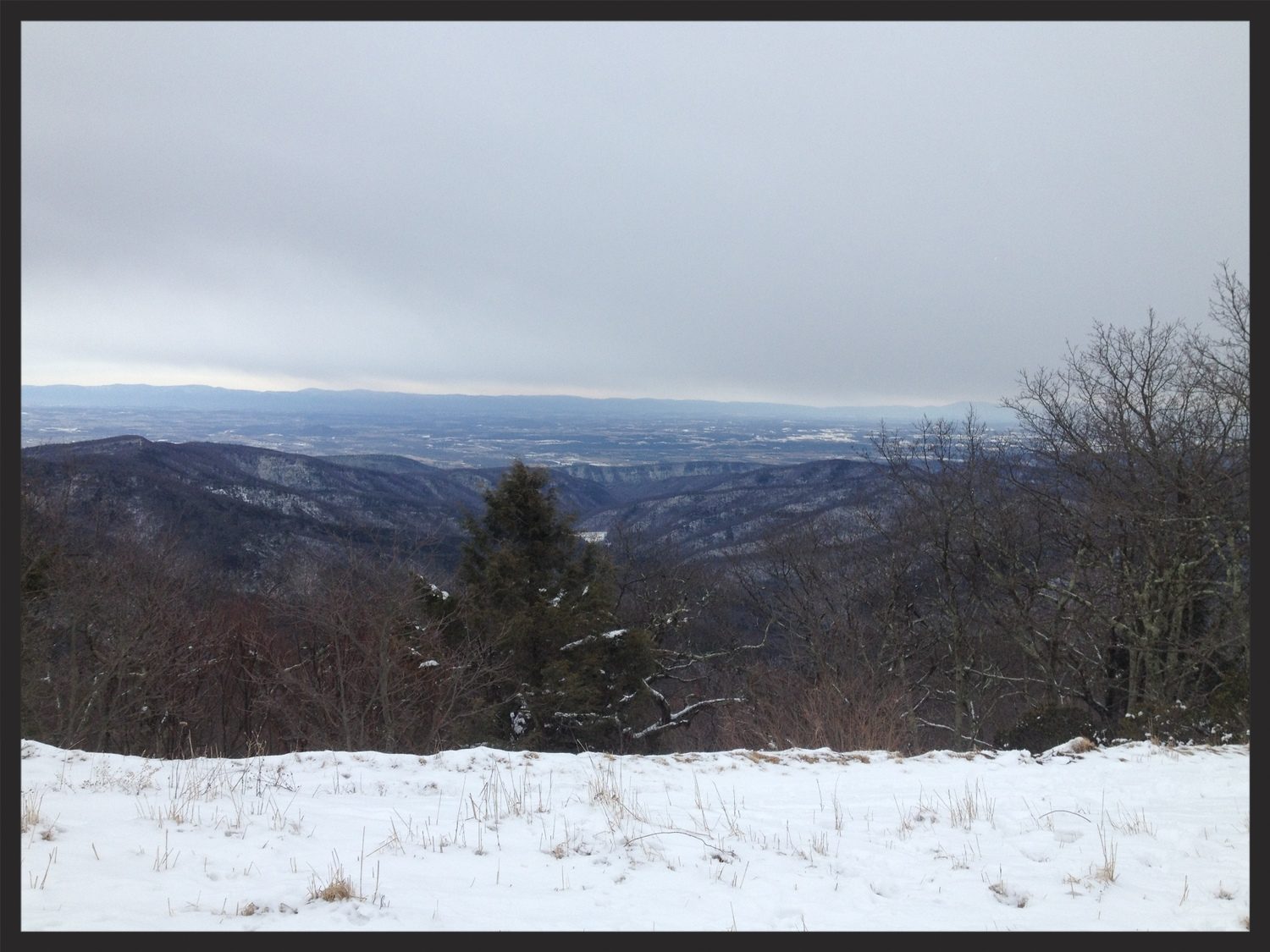 Hone quarry basin below and the valley off in the distance. View from flagpole knob