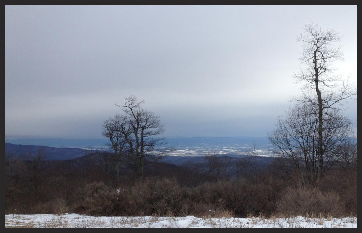 Atop Meadow Knob looking down at Harrisonburg