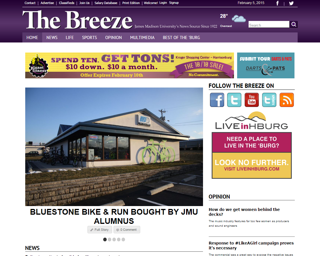 Bluestone Bike & Run featured in JMU's Student Paper, The Breeze