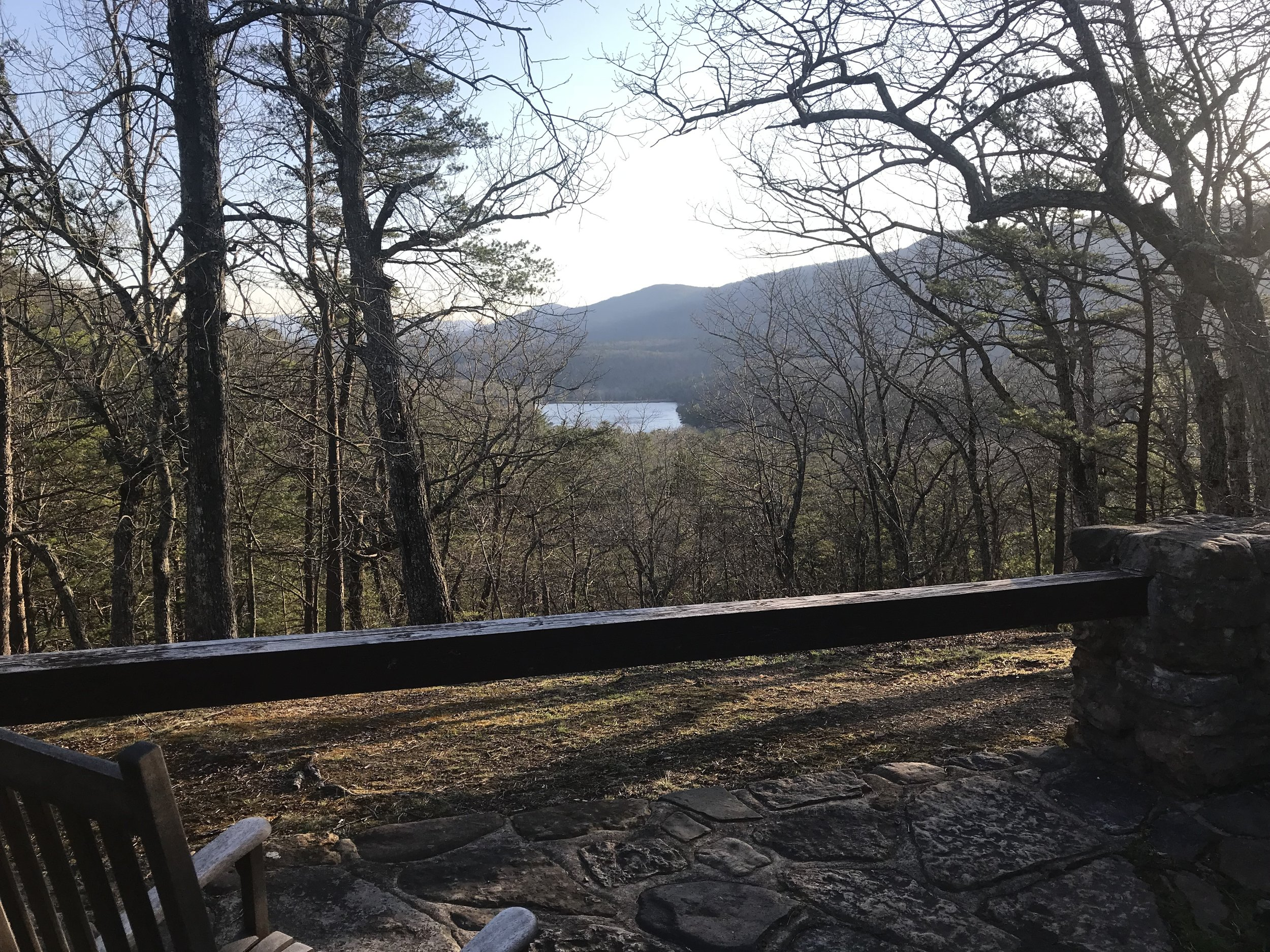 View from the back patio at the Douthat Lodge