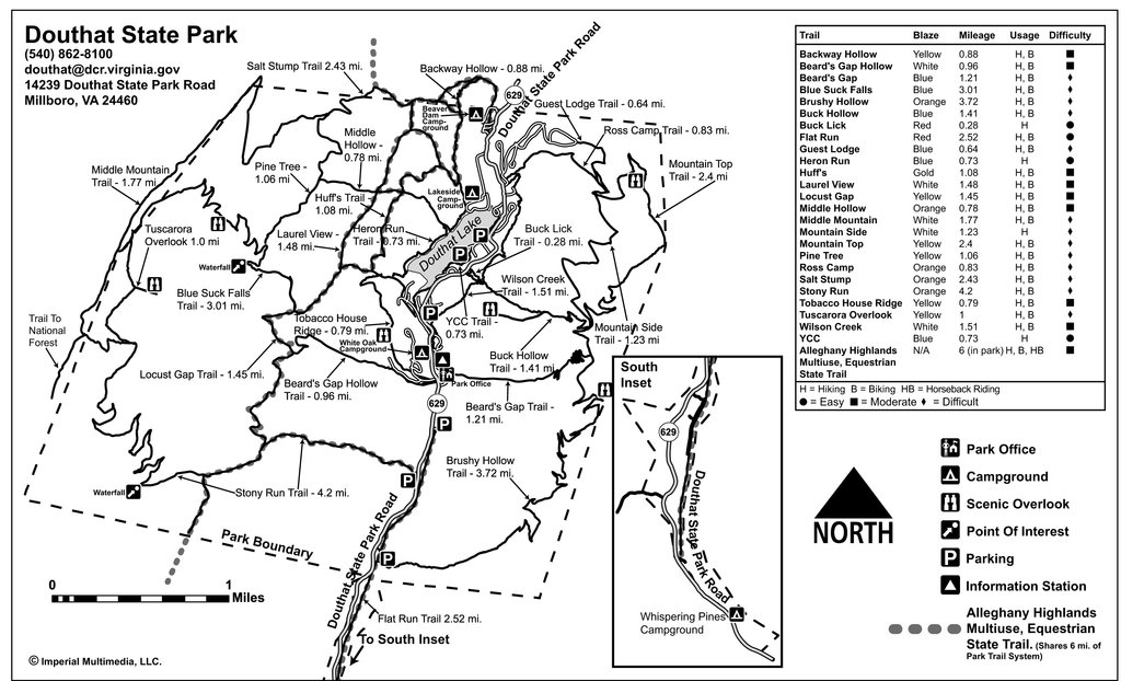 Map of the trails at Douthat State Park