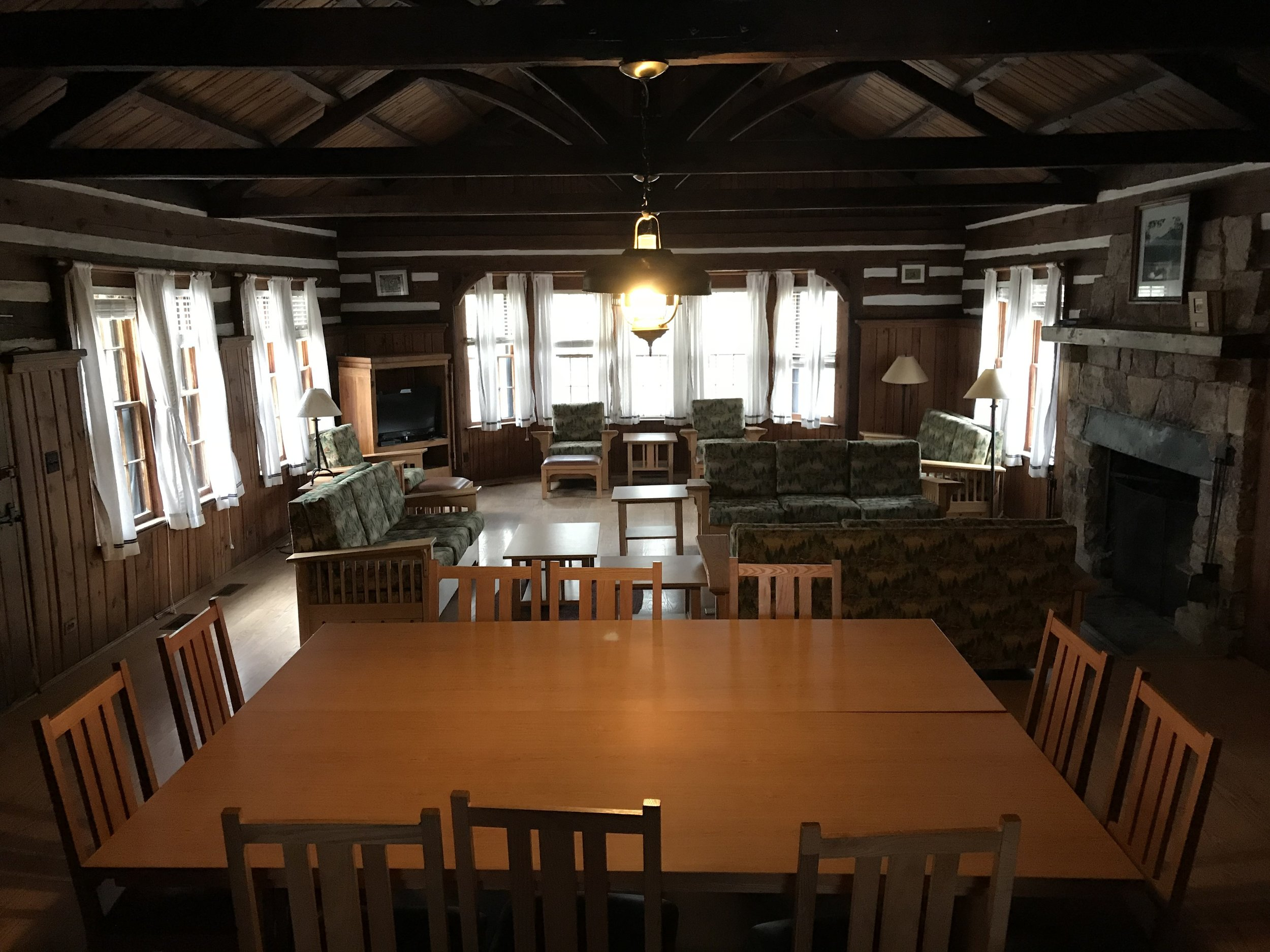Inside the main living area at the Douthat Lodge