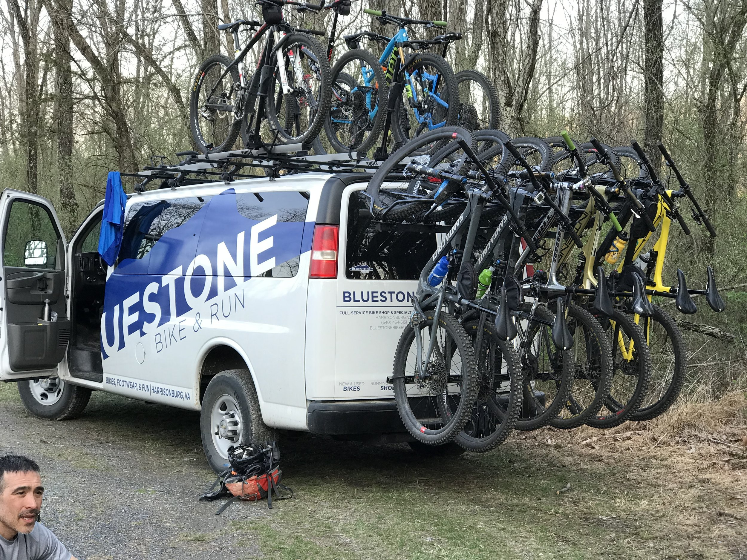The Bluestone Bus loaded up after a tough ride on Beards Mountain