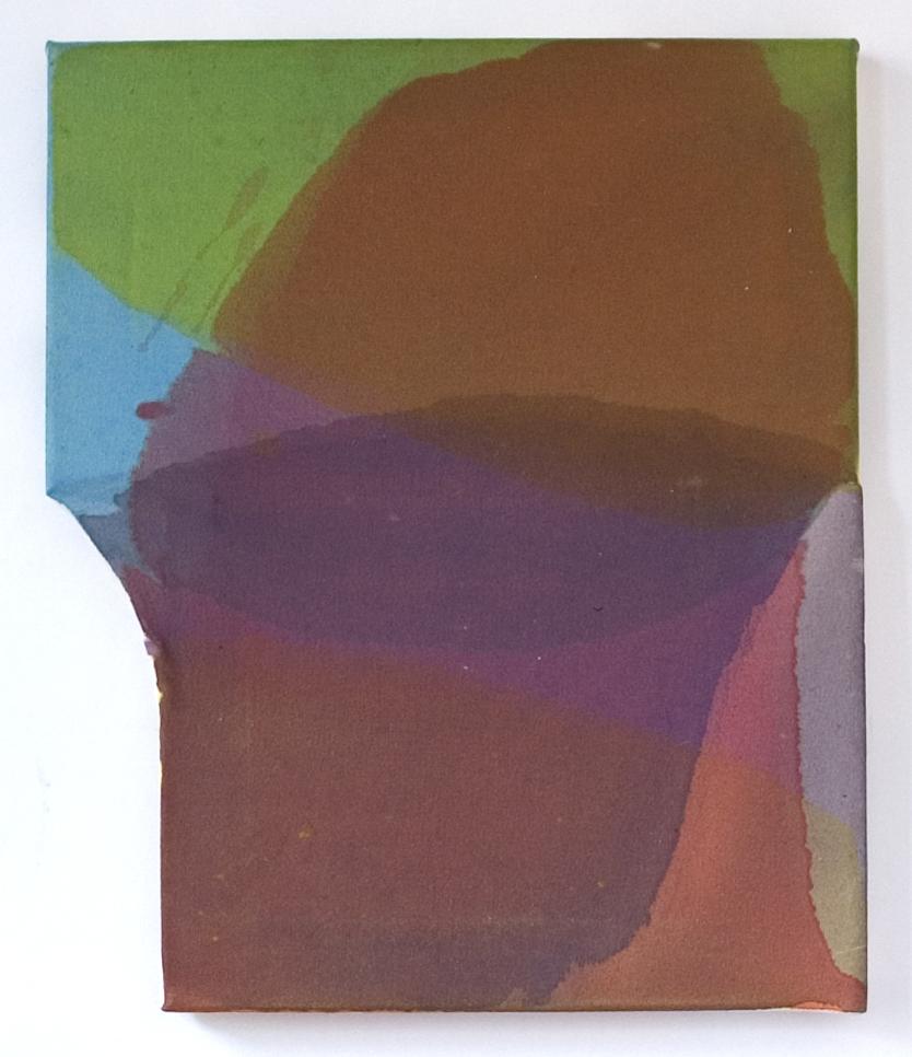 "Off   Sides , Maria Walker.2007.  16.75"" x 14"",Acrylic, Unprimed Canvas, Wood."