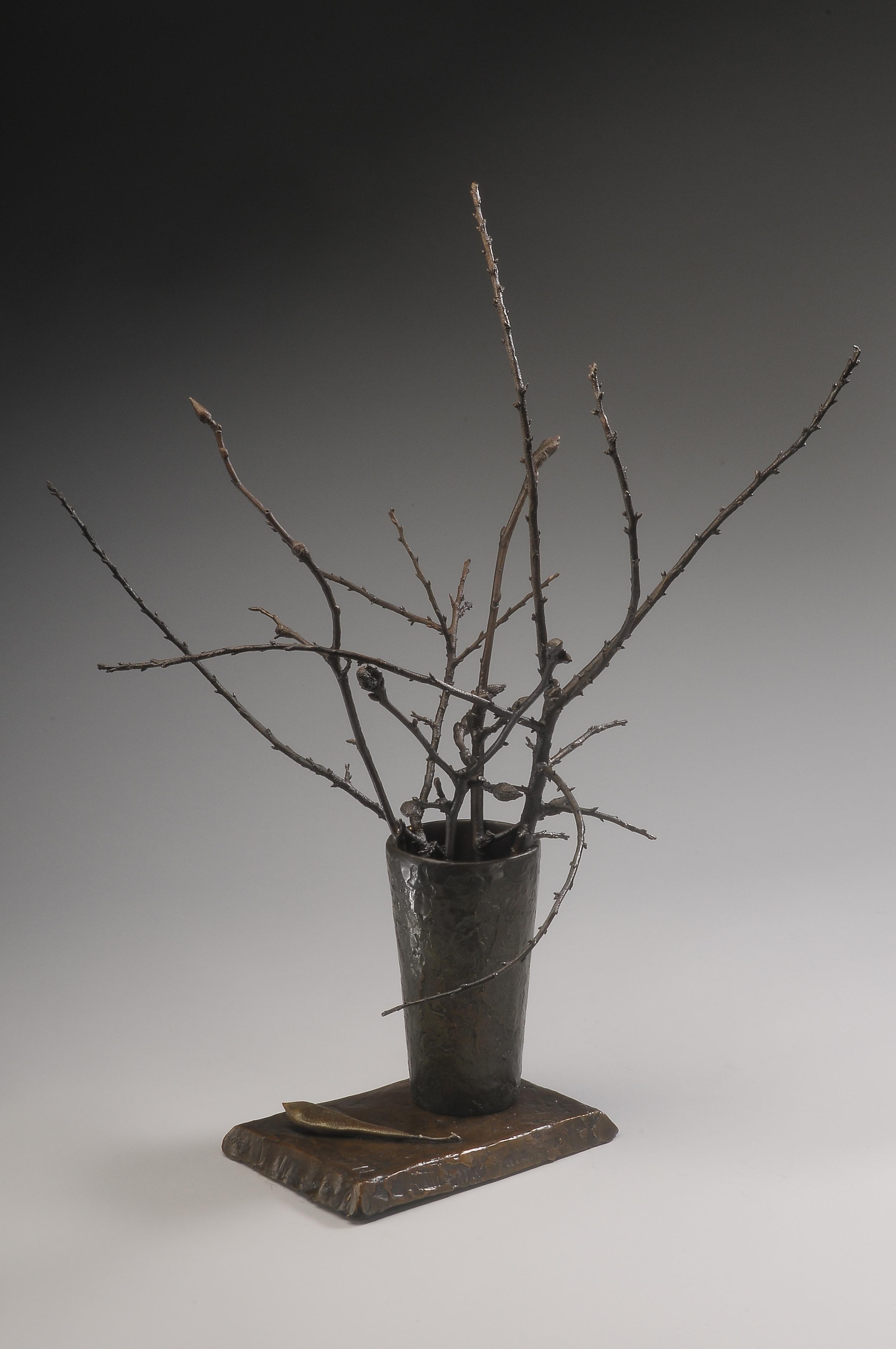 "Beach Plums and Magnolia  , Ellen Lewis Watson.  22"" x 16"" x 17"", bronze"
