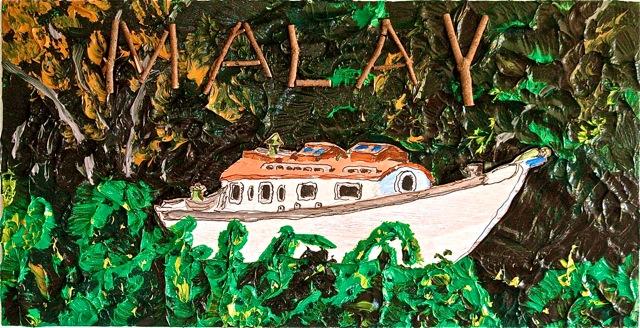 "Malay  . Roger Kizik, 2009.  20"" x 39"",acrylic, plywood,spruce, on canvas"