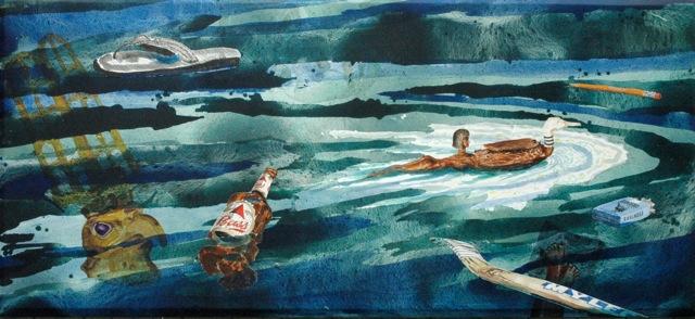 "Da Nile   . Roger Kizik, 2009.   46"" x 99"", acrylic on canvas"