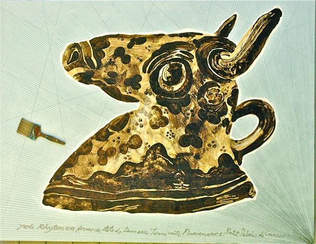 """Bull Rhyton  . Roger Kizik, 2009.   60"""" x 72 """", acrylic, pencil, brush"""