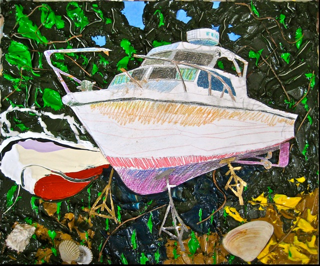 "Graveyard   . Roger Kizik, 2009.   29"" x 35"", acrylic, plywood, colored pencil, aluminum, shells, on canvas"