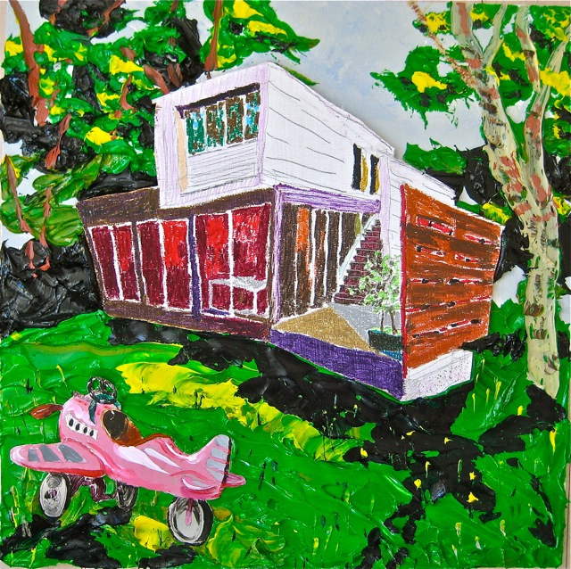 "Sag Harbor  . Roger Kizik, 2010.   30"" x 30"", acrylic, plywood, oil crayon, aluminum, on canvas"