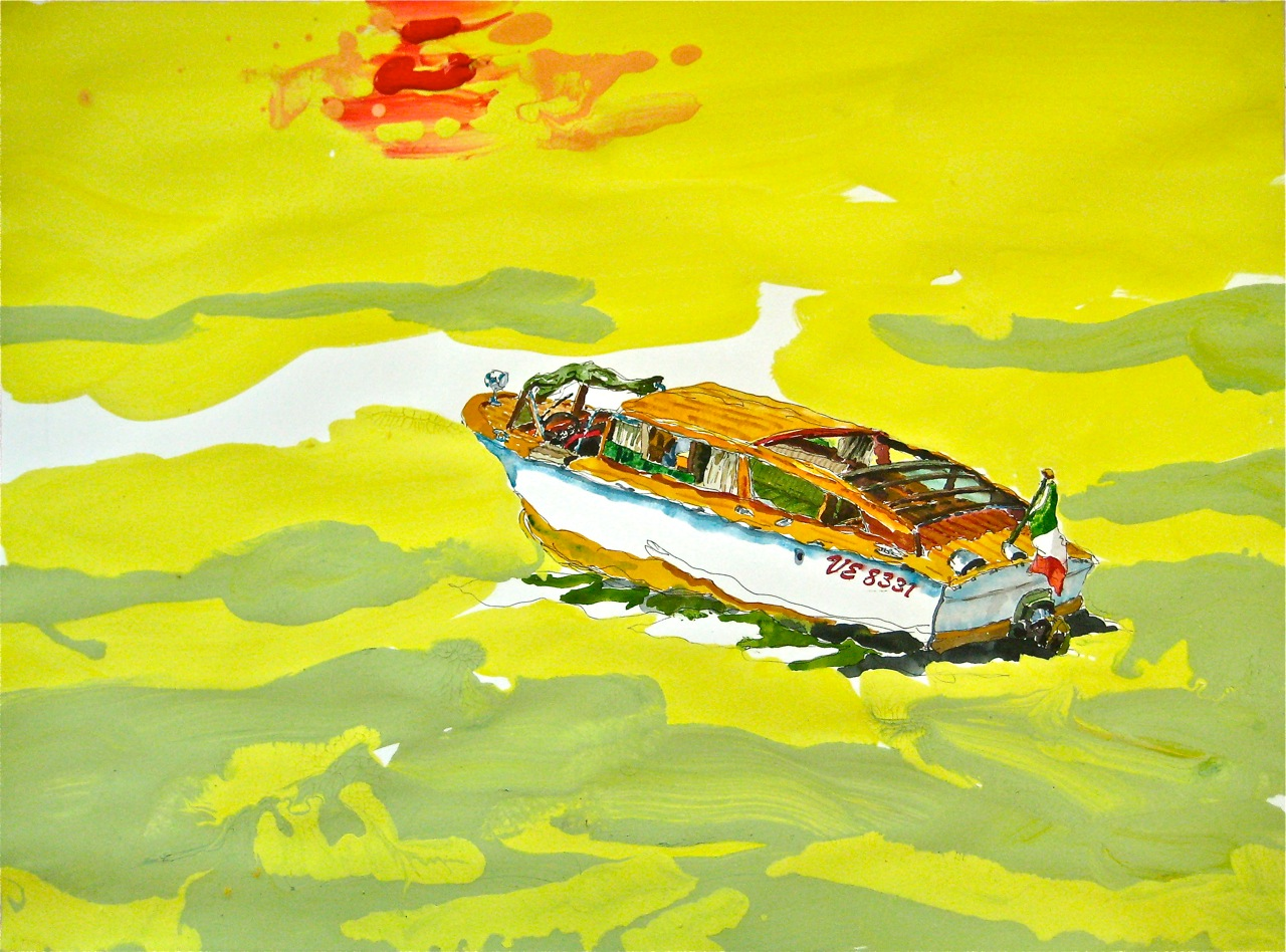 "Taxi I.    Roger Kizik, 2011.   22"" x 30""  watercolor, acrylic, on paper"