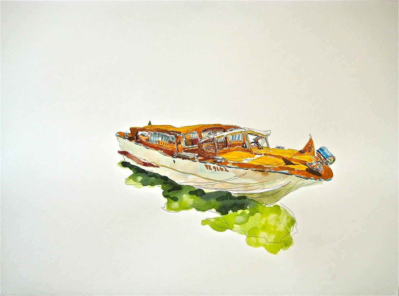 "Taxi III   Roger Kizik, 2011  22""x30"" watercolor, acrylic"