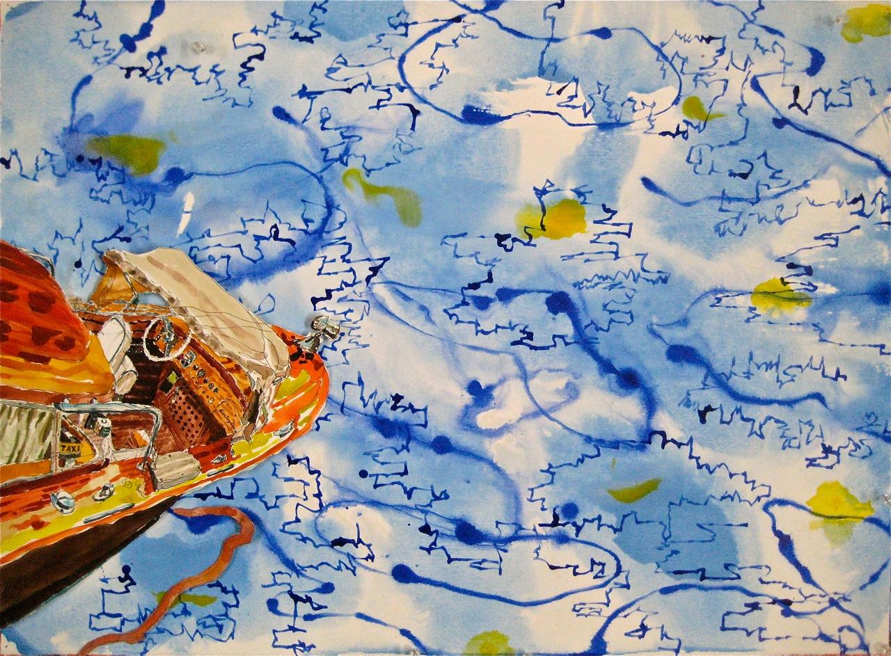 "Taxi II  . Roger Kizik, 2011.  22""x 30"" watercolor, acrylic on paper"