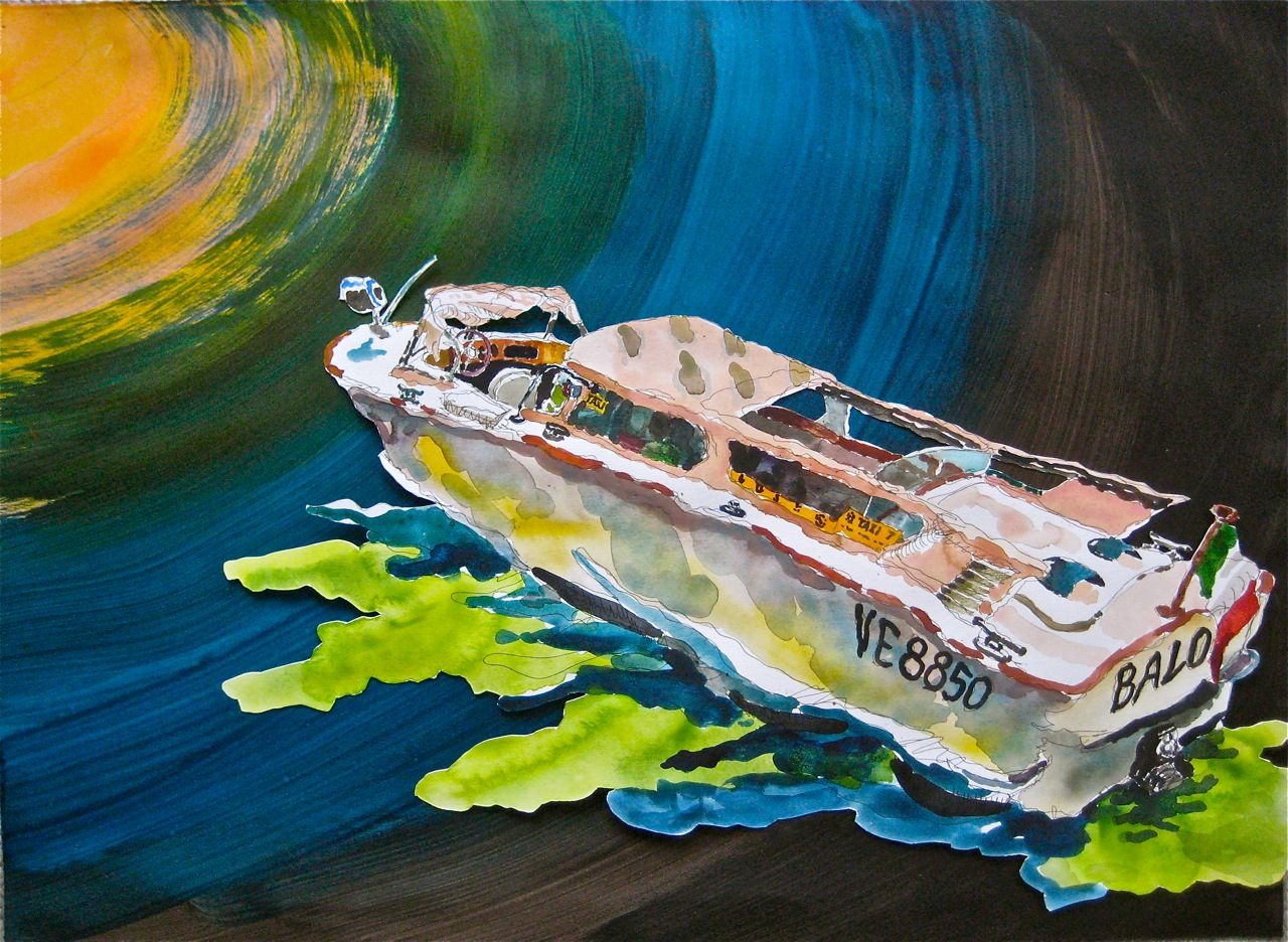 "Taxi VI.  Roger Kizik, 2011.   22"" x 30"", watercolor, acrylic on paper."