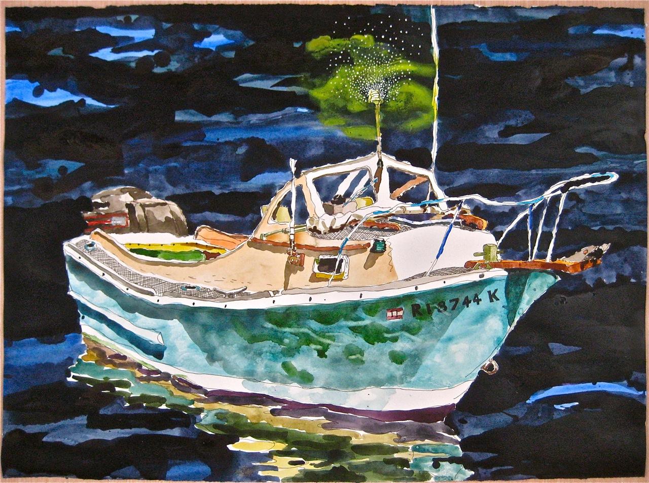 """Sakonett II  . Roger Kizik, 2011.   22"""" x 30"""", watercolor on paper"""