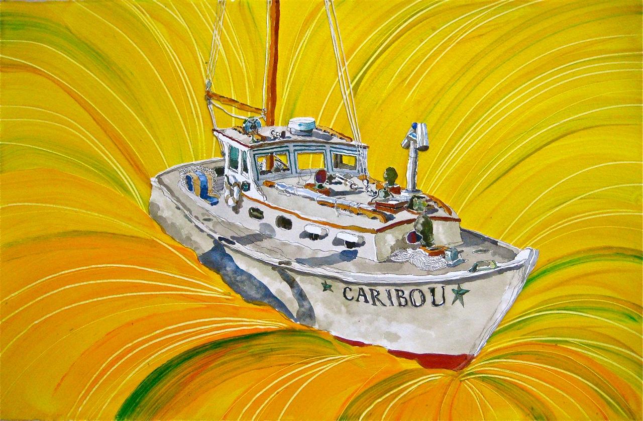 "Caribou,  Roger Kizik, 2011.   26"" x 40"" watercolor, acrylic on paper"