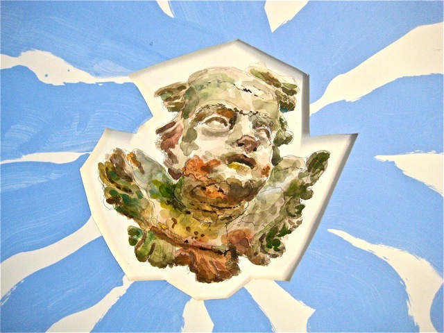 """Putto   . Roger Kizik, 2011.   22"""" x 30"""", watercolor, ink, acrylic,on paper"""