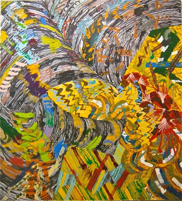 Hooded   . Roger Kizik, 1978.   10 x 9'2 , alkyd on canvas